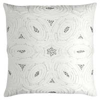 Rizzy Home Geometric White Cotton 20-inch Square Throw Pillow