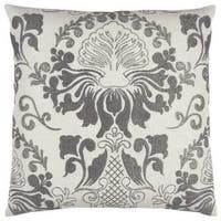 Rizzy Home Floral Damask 20-inch Cotton Throw Pillow