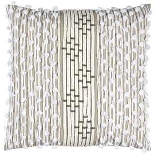 Rizzy Home White Cotton Striped Throw Pillow