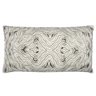 Rizzy Home Abstract Swirl Off-white Cotton 14-inch x 26-inch Throw Pillow
