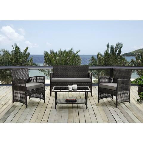 DG Casa Bali Steel Rattan Loveseat, 2 Chair and Table Set