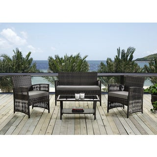DG Casa Bali Steel Rattan Loveseat, 2 Chair and Table Set