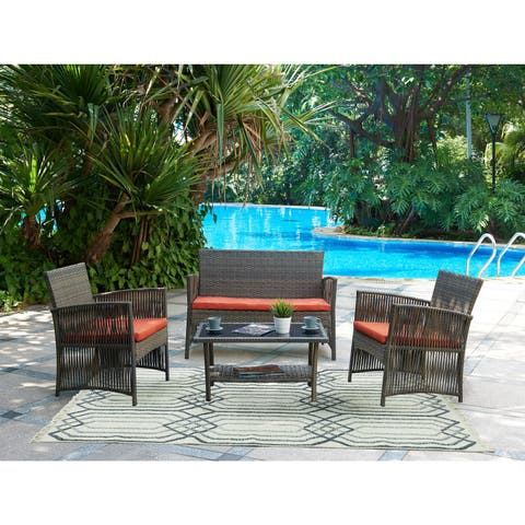 DG Casa Bali Red Loveseat, 2 Chairs and Table Set