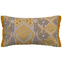 Rizzy Home Medallion and Ikat Cotton / Flax Decorative Throw Pillow