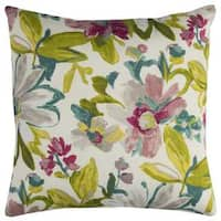Rizzy Home Indoor Outdoor White Floral Polyester Decorative Throw Pillow