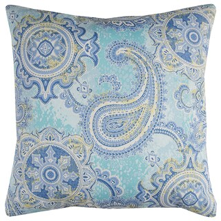 Rizzy Home Blue Paisley Polyester Decorative Throw Pillow