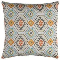 Rizzy Home Indoor Outdoor 22-inch Green Geometric Polyester Decorative Throw Pillow