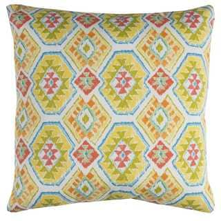 Rizzy Home Yellow Geometric Polyester Decorative Throw Pillow