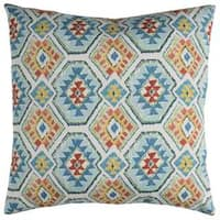 Rizzy Home Indoor Outdoor Blue Geometric Polyester Decorative Throw Pillow