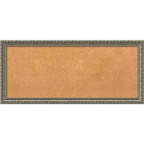 Framed Cork Board Panel, Parisian Silver 33 x 15-inch - 32 x 14-inch