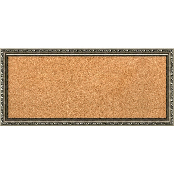 Framed Cork Board Panel, Parisian Silver 33 x 15-inch