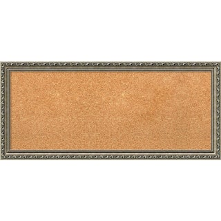 Framed Cork Board Panel, Parisian Silver 33 x 15-inch