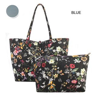Diophy Black Floral Pattern Two Tone Reversible Large Tote 2-pic set - L (Option: Blue)