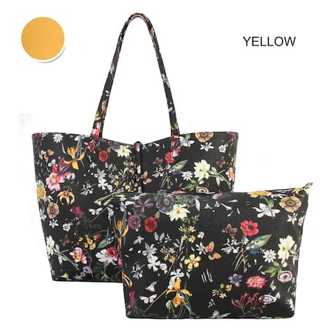cf5d24778838a1 Diophy Black Floral Pattern Two Tone Reversible Large Tote 2-pic set - L