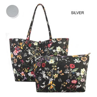 Diophy Black Floral Pattern Two Tone Reversible Large Tote 2-pic set - L