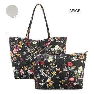 Diophy Faux Leather Black Floral Pattern Two Tone Reversible Large Tote Bag and Matching Crossbody Bag (Set of 2)