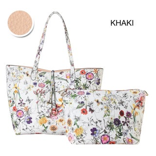 Diophy Floral Large 2-tone Reversible Tote with Crossbody Bag 2 Pieces Set (Option: Khaki)