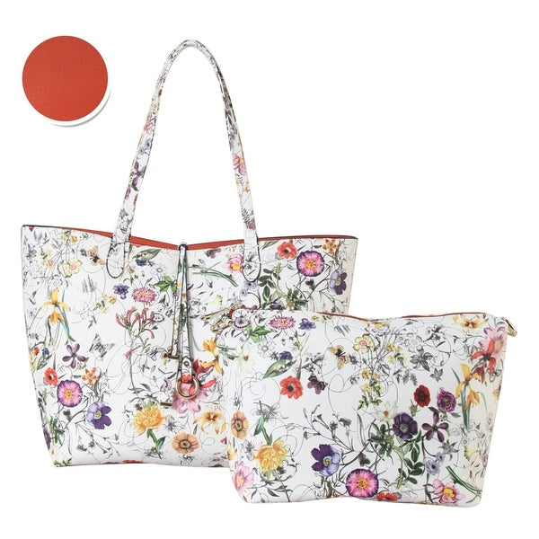 5b1ff180f Diophy Floral Large 2-tone Reversible Tote with Crossbody Bag 2 Pieces Set
