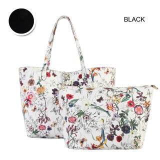 Diophy Floral Large 2-tone Reversible Tote with Crossbody Bag 2 Pieces Set (Option: Black)