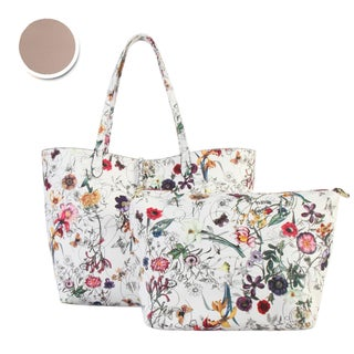 Diophy Floral Large 2-tone Reversible Tote with Crossbody Bag 2 Pieces Set (Option: Taupe)