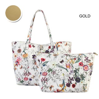 Diophy Floral Large 2-tone Reversible Tote with Crossbody Bag 2 Pieces Set (More options available)