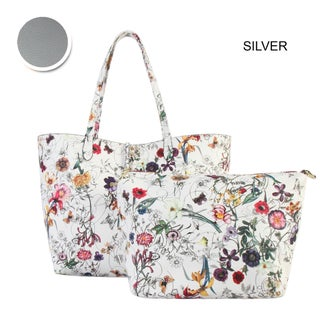 Diophy Floral Large 2-tone Reversible Tote with Crossbody Bag 2 Pieces Set (Option: Silver)