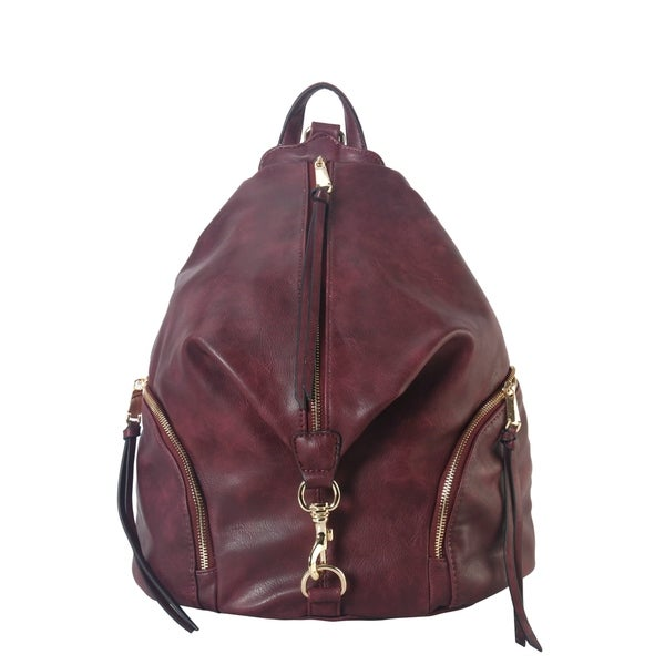 Backpack Female Leather Wild Street Wind Backpack Leisure Travel Ladies Backpack Computer Bag Casual Daypacks Color : RED