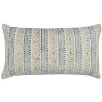 Rizzy Home Vertical Stripe Blue Cotton Decorative Filled 14 x 26 Throw Pillow
