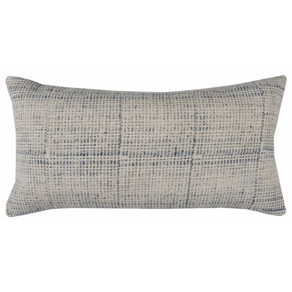Rizzy Home Textured Solid Blue Cotton 14-inch x 26-inch Throw Pillow