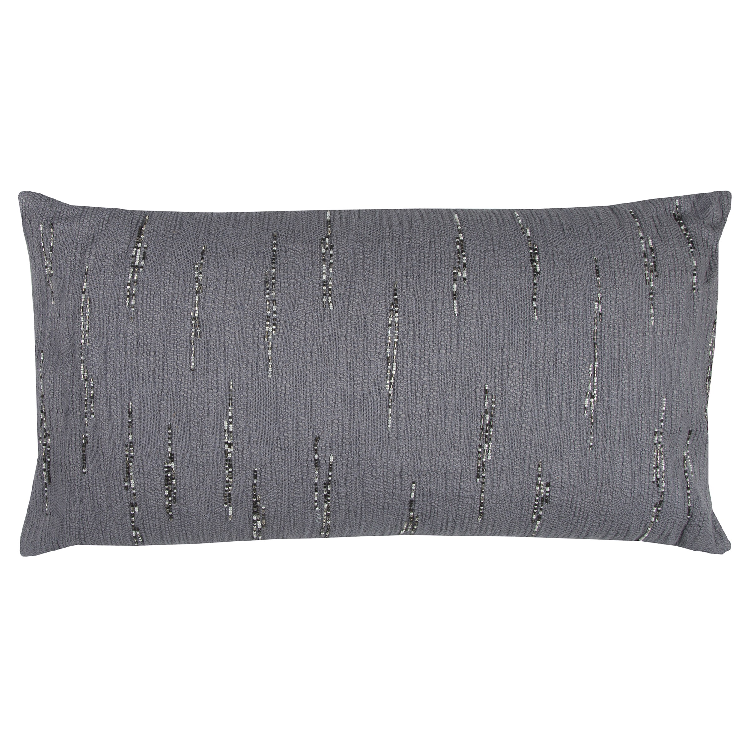 Rizzy Home Textured Beaded Grey Cotton 14-inch x 26-inch Throw Pillow (14 x 26 GREY Textured with beaded accents)