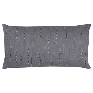 Rizzy Home Textured Beaded Grey Cotton 14-inch x 26-inch Throw Pillow