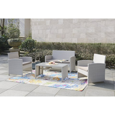 DG Casa Clifton Grey Loveseat, 2 Chairs, and Table (Set of 4)