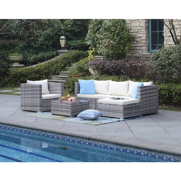 Superbe DG Casa Acapulco Beige Six Piece Outdoor Sofa Set