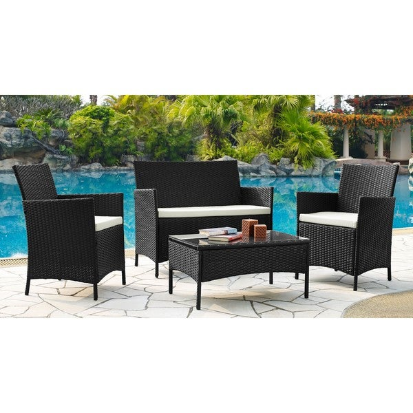 Shop DG Casa Newport Steel Rattan Loveseat, 2 Chair and ... on Safavieh Outdoor Living Granton 5 Pc Living Set id=51448