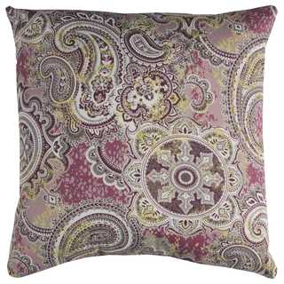 Rizzy Home Indoor Outdoor Purple Paisley Polyester Decorative Throw Pillow