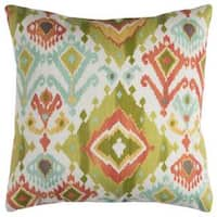 Rizzy Home Green Geometric Polyester Decorative Throw Pillow