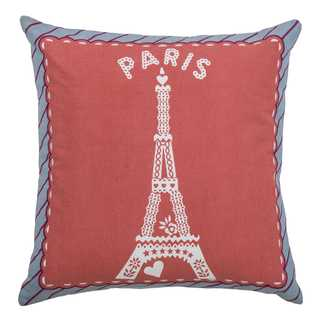 Rizzy Home Pink Cotton Eiffel Tower- Paris Throw Pillow (18-inch)