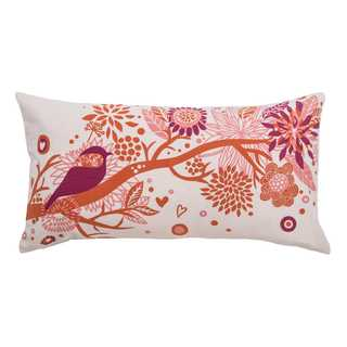 Rizzy Home Pink Cotton Bird and Foliage Throw Pillow