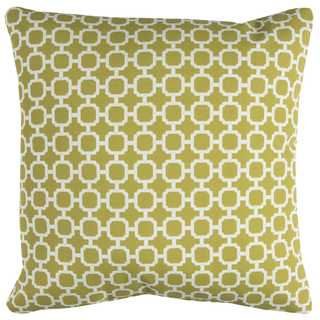 Rizzy Home Green Geometric Polyester Square Decorative Throw Pillow