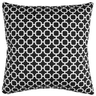 Rizzy Home Black Geometric Polyester Decorative Throw Pillow