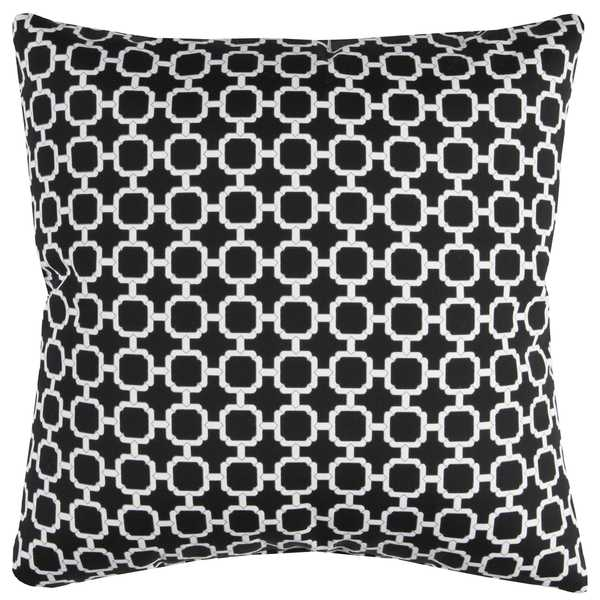 Rizzy Home Indoor Outdoor Black Geometric Polyester Decorative Throw Pillow