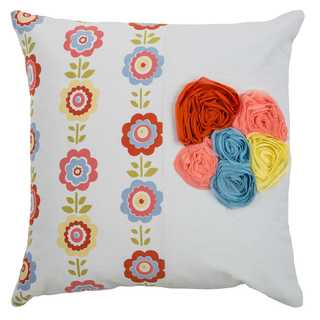 Rizzy Home Georgette White Floral Cotton 18 x 18 Throw Pillow