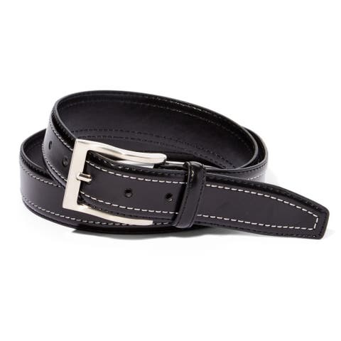 EMP Men's Black Leather Double-stitch Belt
