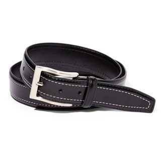 EMP Men's Black Leather Double-stitch Belt