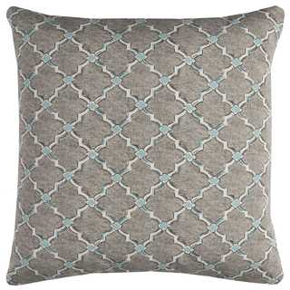 Rizzy Home Geometric Grey Polyester Decorative Filled 22 x 22 Throw Pillow