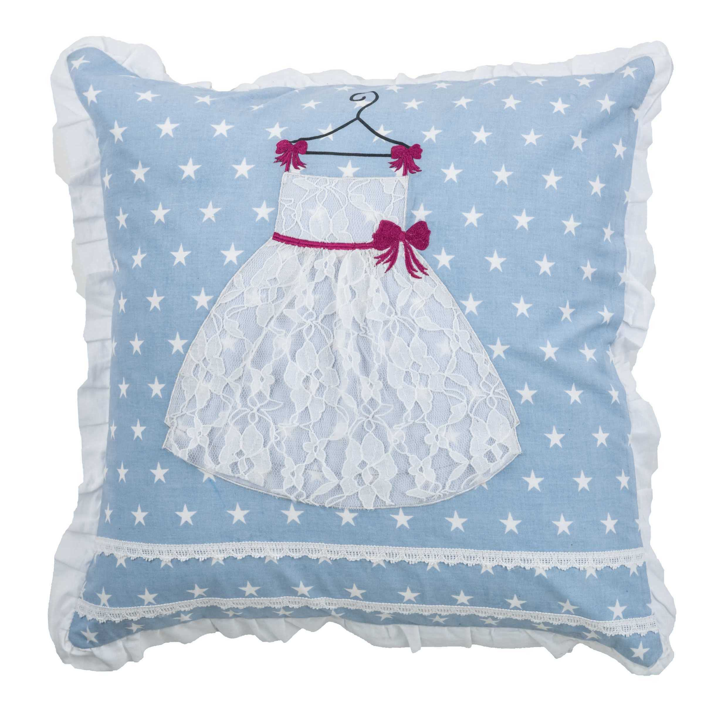 Rizzy Rugs Blue and White Cotton Princess Dress Throw Pil...