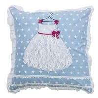 Rizzy Home Blue and White Cotton Princess Dress Throw Pillow