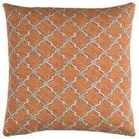 Rizzy Home Indoor Outdoor Geometric Orange Cotton 22-inch Square Throw Pillow