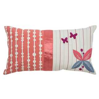 Rizzy Home Floral and Stripe Pink 11-inch x 21-inch Throw Pillow
