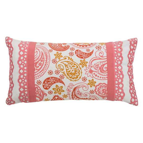 Rizzy Home Pink Cotton Paisley Throw Pillow